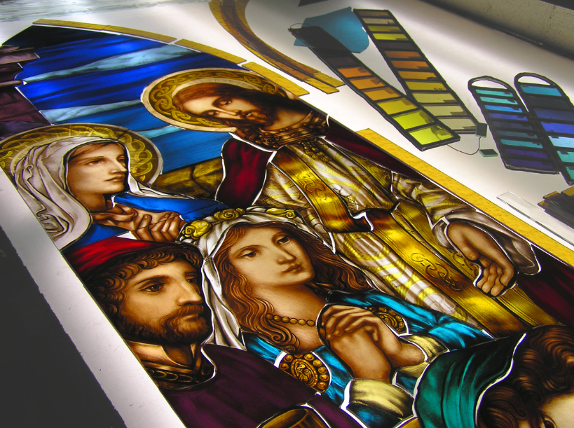 Art glass Derry City, Northern Ireland, Stained glass studio traditional fired church stained glass new design resortation made in ireland