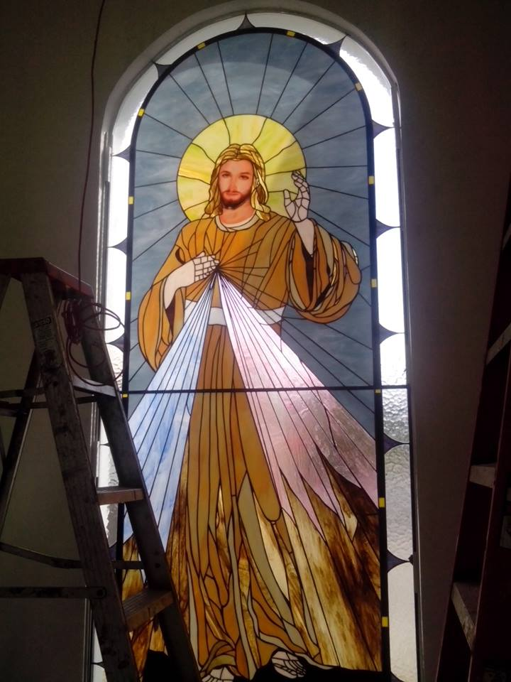 secred hear of jesus stained glass traditional stained glass leaded light dome by stained glass studio art glass ireland derry city