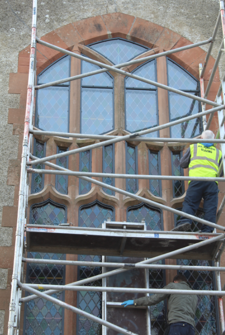 Expert made to measure stained glass church restoration specalist protective exterior glass storm glazing water proof isothermal glass conservation byspoke