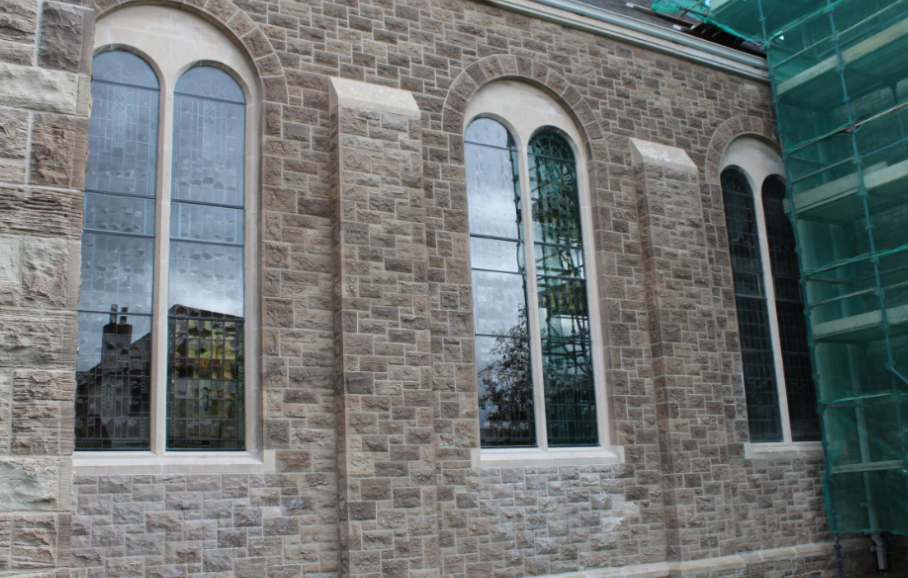 Large window storm glazing system derry city church window resteration stained glass conservation storm glazing system dublin ireland church glass refurbishment